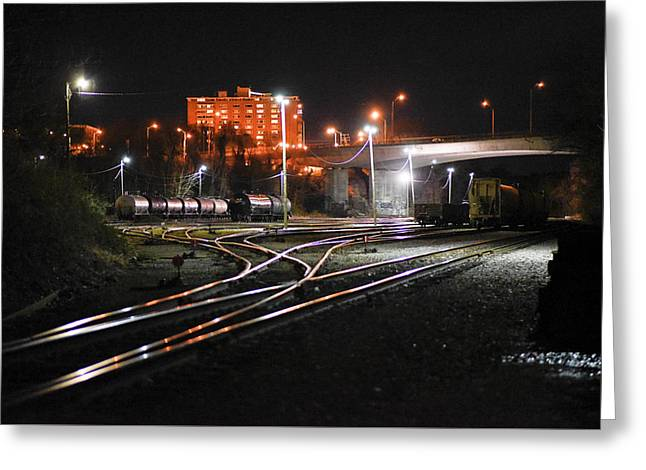 Night At The Railyard Greeting Card
