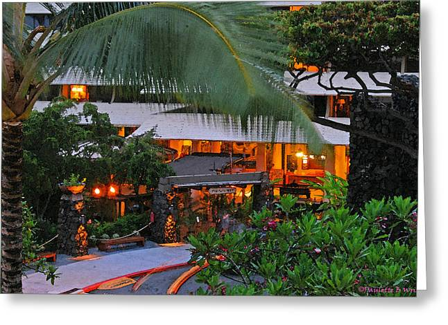 Paulette Wright Digital Art Greeting Cards - Night At The Royal Kona Resort Greeting Card by Paulette B Wright