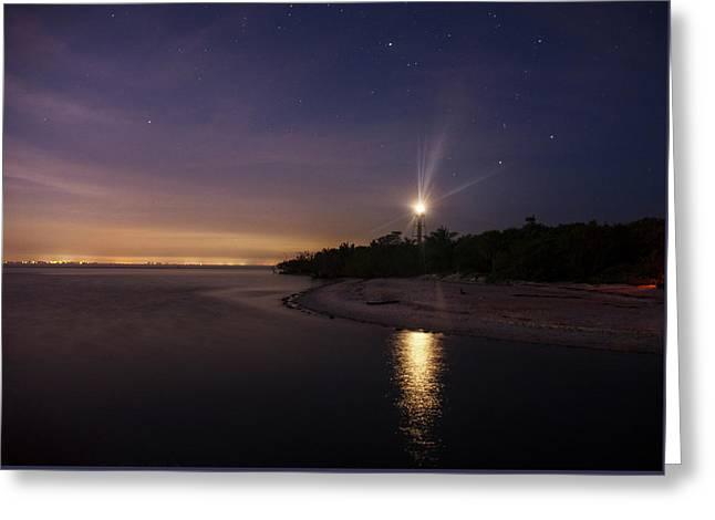 Night At The Sanibel Lighthouse Greeting Card