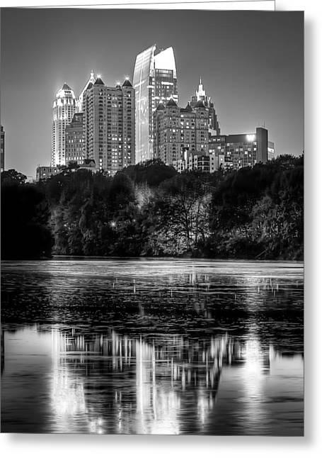 Night Atlanta.piedmont Park Lake. Greeting Card