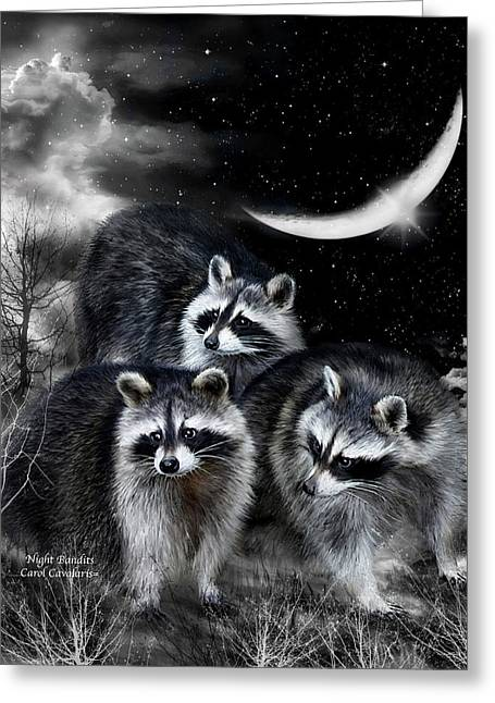 Night Bandits Greeting Card by Carol Cavalaris