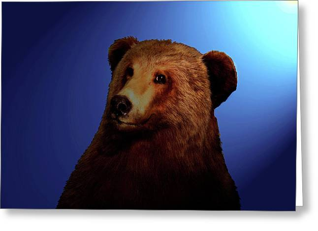 Greeting Card featuring the digital art Night Bear by Timothy Bulone