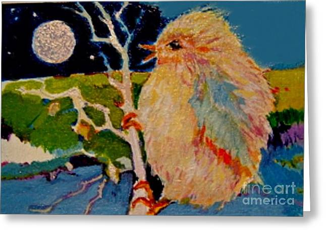 Greeting Card featuring the painting Night Bird by Diane Ursin