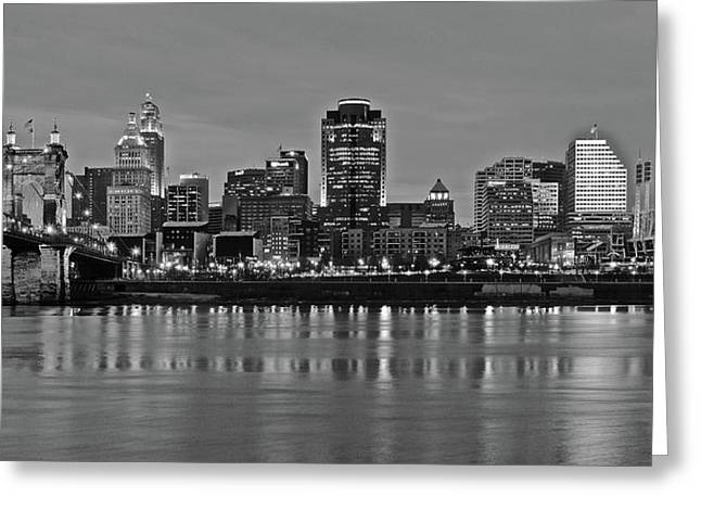 Night Black And White Of Cinci 2016 Greeting Card