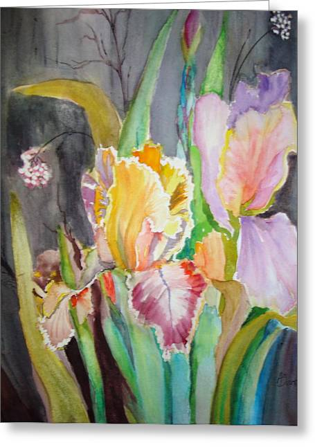 Greeting Card featuring the painting Night Blooms by AnnE Dentler