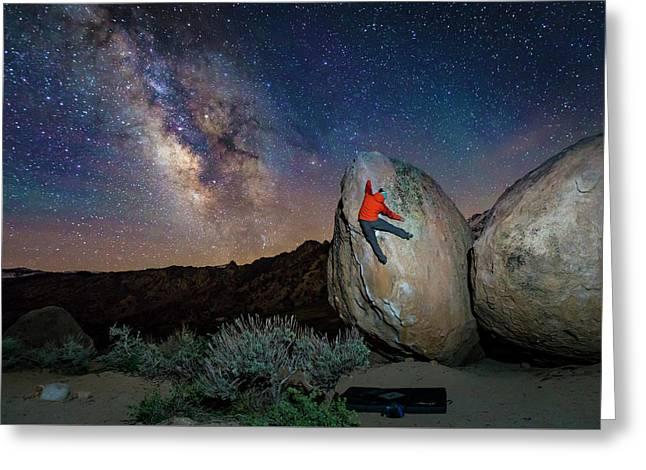 Night Bouldering Greeting Card by Evgeny Vasenev