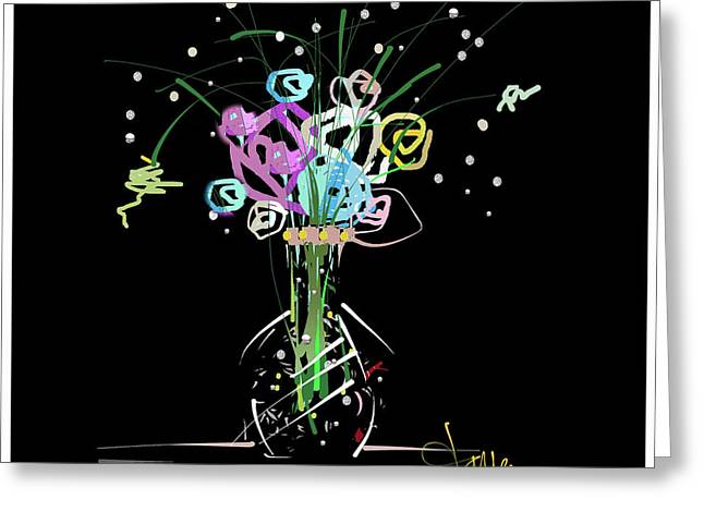 Greeting Card featuring the mixed media Night Bouquet by Larry Talley