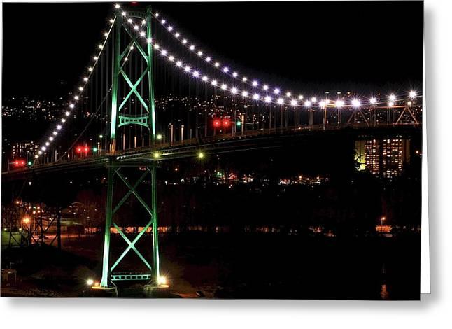 Night Bridge Greeting Card by Anna Lyndi
