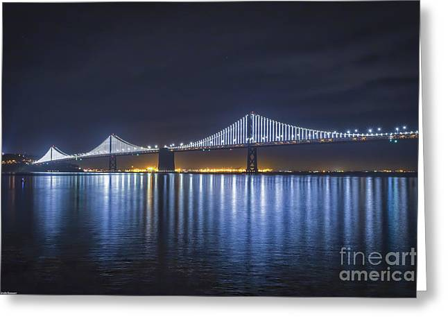 Night Bridge Greeting Card by Mitch Shindelbower