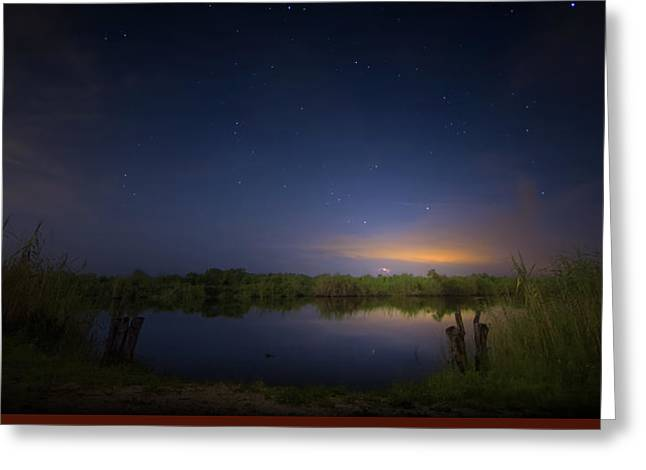 Night Brush Fire In The Everglades Greeting Card