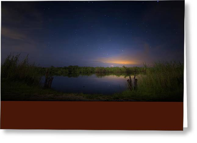 Night Brush Fire In The Everglades Greeting Card by Mark Andrew Thomas