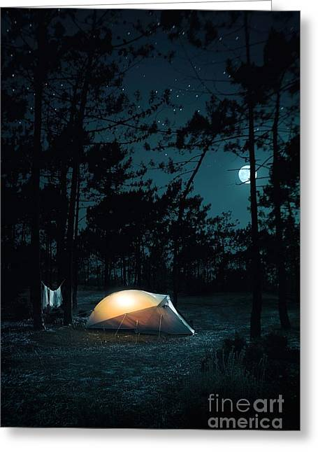 Night Camping Greeting Card