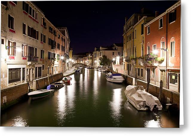 Night Canal Greeting Card by Marco Missiaja
