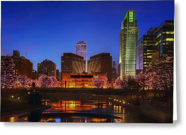 Night Cityscape - 2 - Omaha - Nebraska Greeting Card