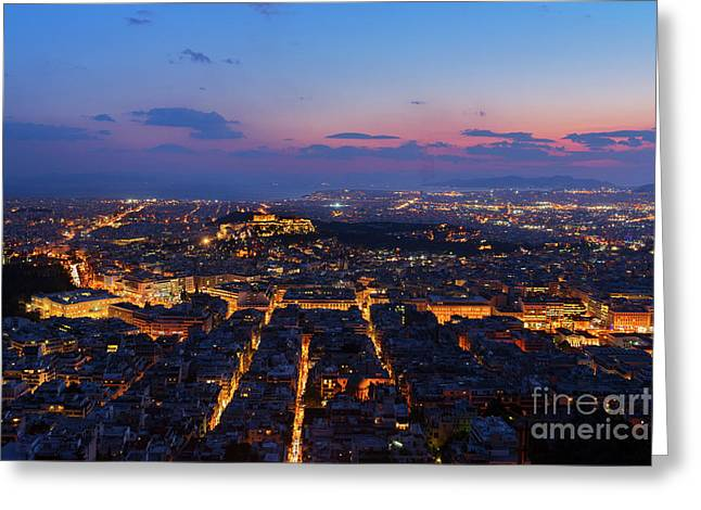 Night Cityscape Of Athens  Greeting Card