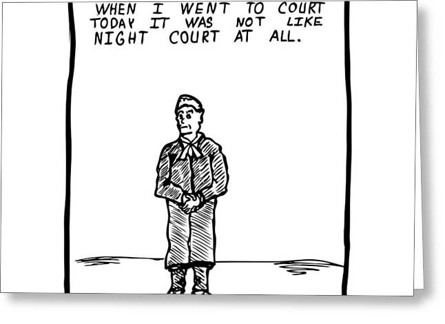 Night Court Comic Greeting Card by Karl Addison