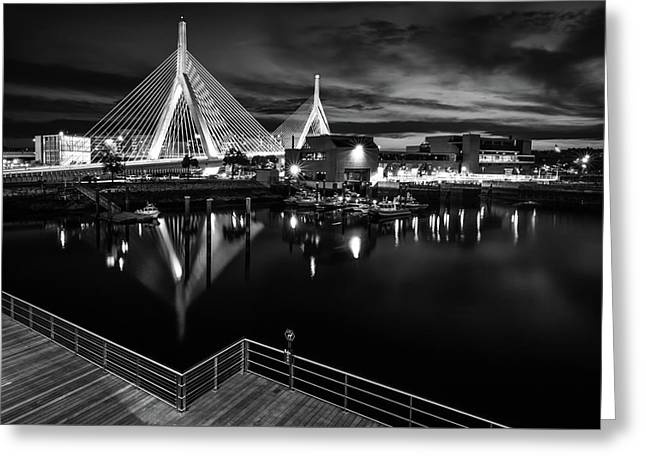 Night Falling On Zakim Bridge Greeting Card