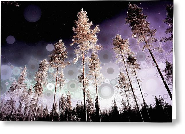 Greeting Card featuring the mixed media Night Falling by Susan Maxwell Schmidt