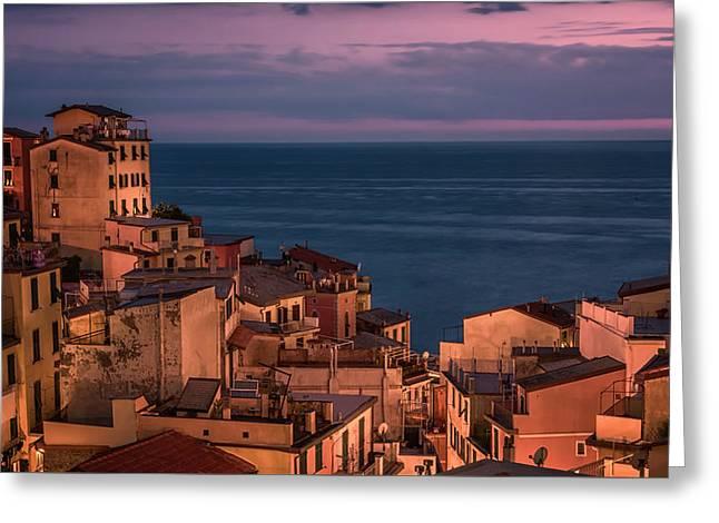 Night Falls In Riomaggiore Cinque Terre Italy Greeting Card by Joan Carroll