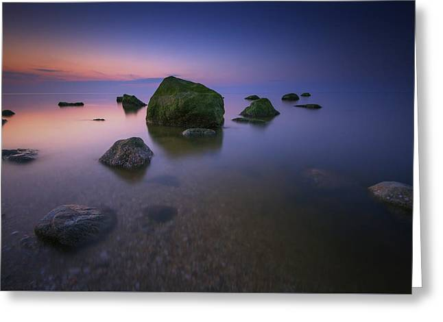 Night Falls On Long Island Sound Greeting Card by Rick Berk