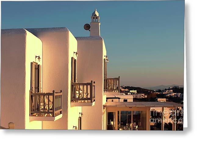 Night Falls On Mykonos Greeting Card