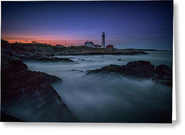 Greeting Card featuring the photograph Night Falls On Portland Head by Rick Berk