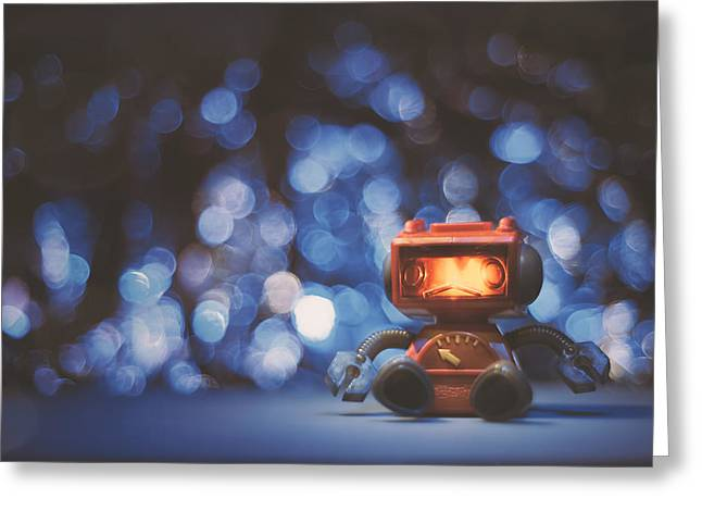 Night Falls On The Lonely Robot Greeting Card