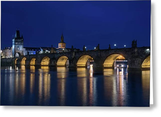 Night Falls Over Charles Bridge Prague Czech Republic Greeting Card