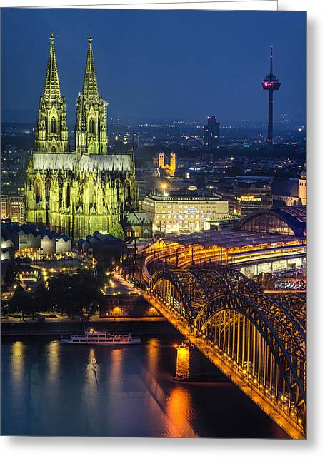 Night Falls Upon Cologne 1 Greeting Card