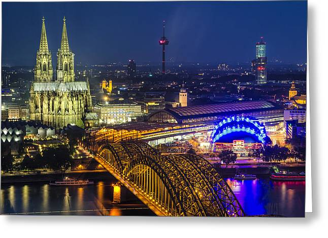 Night Falls Upon Cologne 2 Greeting Card