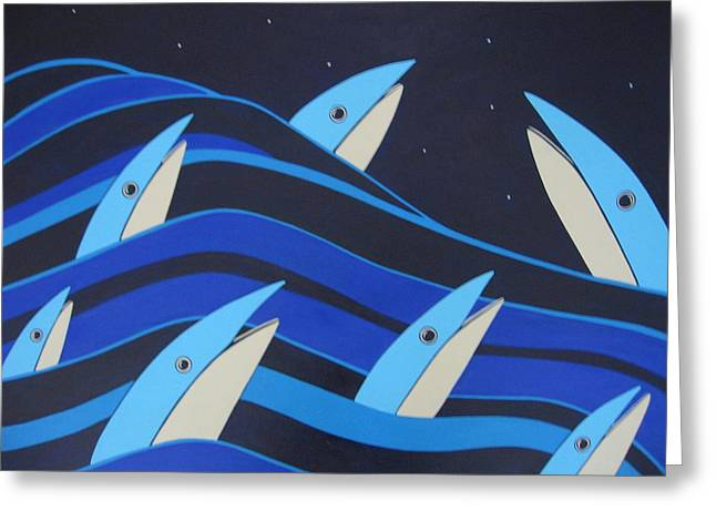 Night Fish Stars On The Water Greeting Card by Sandra McHugh
