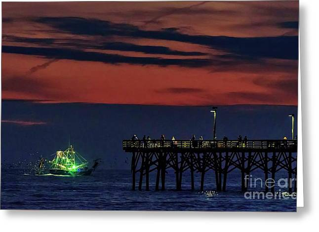 Greeting Card featuring the photograph Night Fishing by DJA Images
