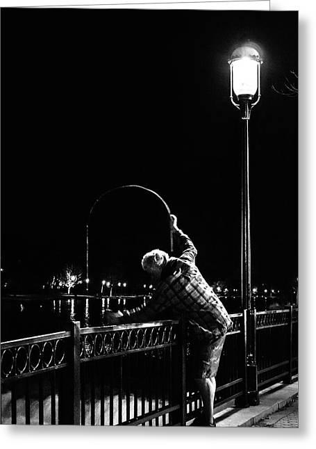 Night Fishing On The Fox River Greeting Card