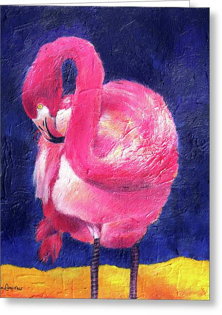 Night Flamingo Greeting Card by Noga Ami-rav