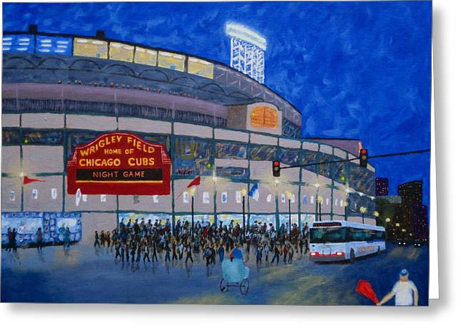 Baseball Art Greeting Cards - Night Game Greeting Card by J Loren Reedy