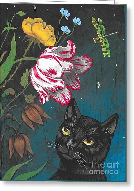 Night Garden Greeting Card by Margaryta Yermolayeva