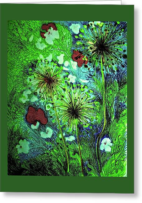 Night Garden With Allium Greeting Card