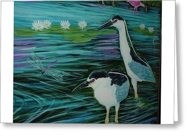 Night Herons Greeting Card