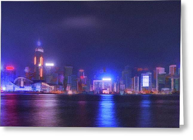 Night Hong Kong Greeting Card