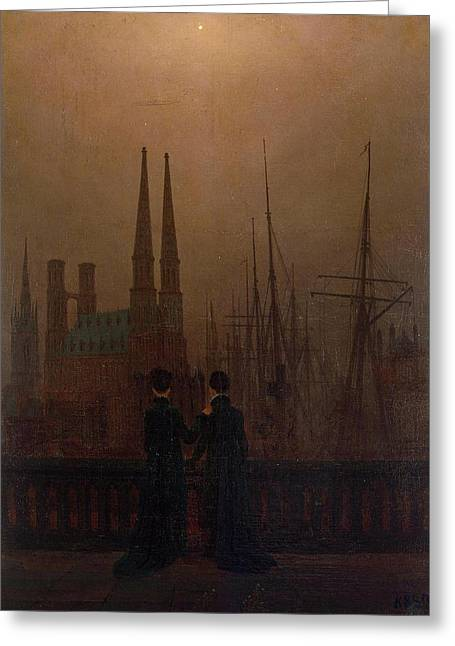Night In A Harbour, Sisters Greeting Card by Caspar David Friedrich