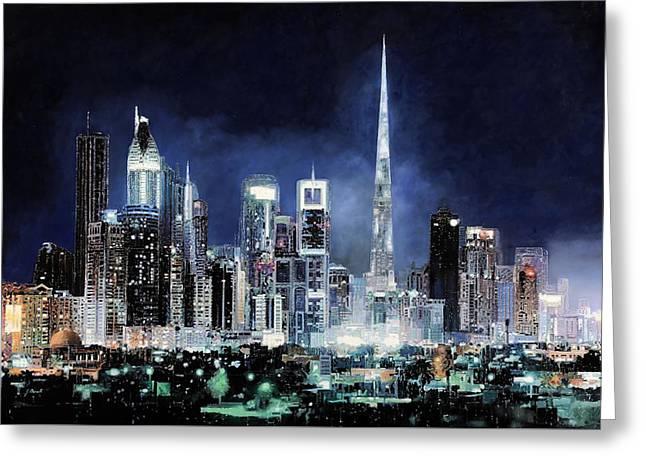 night in Dubai City Greeting Card by Guido Borelli