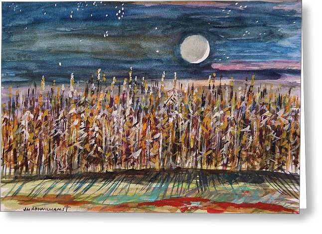 John M. Williams Drawings Greeting Cards - Night in the Cornfield Greeting Card by John  Williams