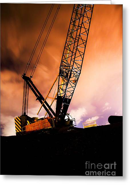 Night Infrastructure Building Construction Greeting Card