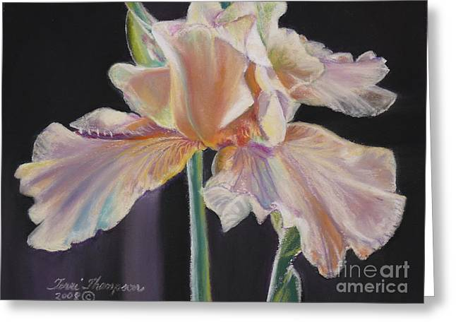 Greeting Card featuring the pastel Night Iris by Terri Thompson