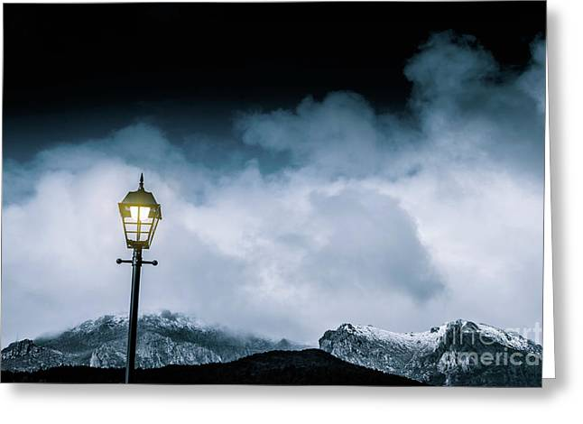 Night Landscape In Queenstown Tasmania Greeting Card