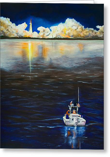 Night Launch Greeting Card by Dorothy Riley