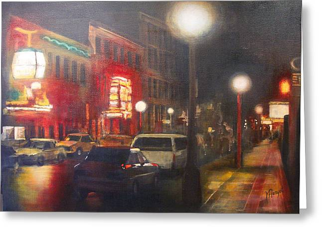 Night Life Greeting Card by Victoria Heryet