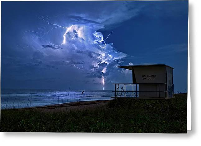 Greeting Card featuring the photograph Night Lightning Under Full Moon Over Hobe Sound Beach, Florida by Justin Kelefas
