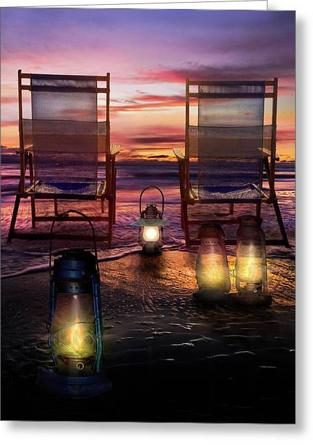 Greeting Card featuring the photograph Night Lights At Sunset by Debra and Dave Vanderlaan