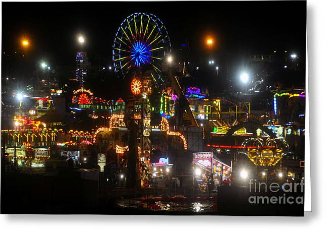 Night Lights At The Fair Greeting Card by David Lee Thompson